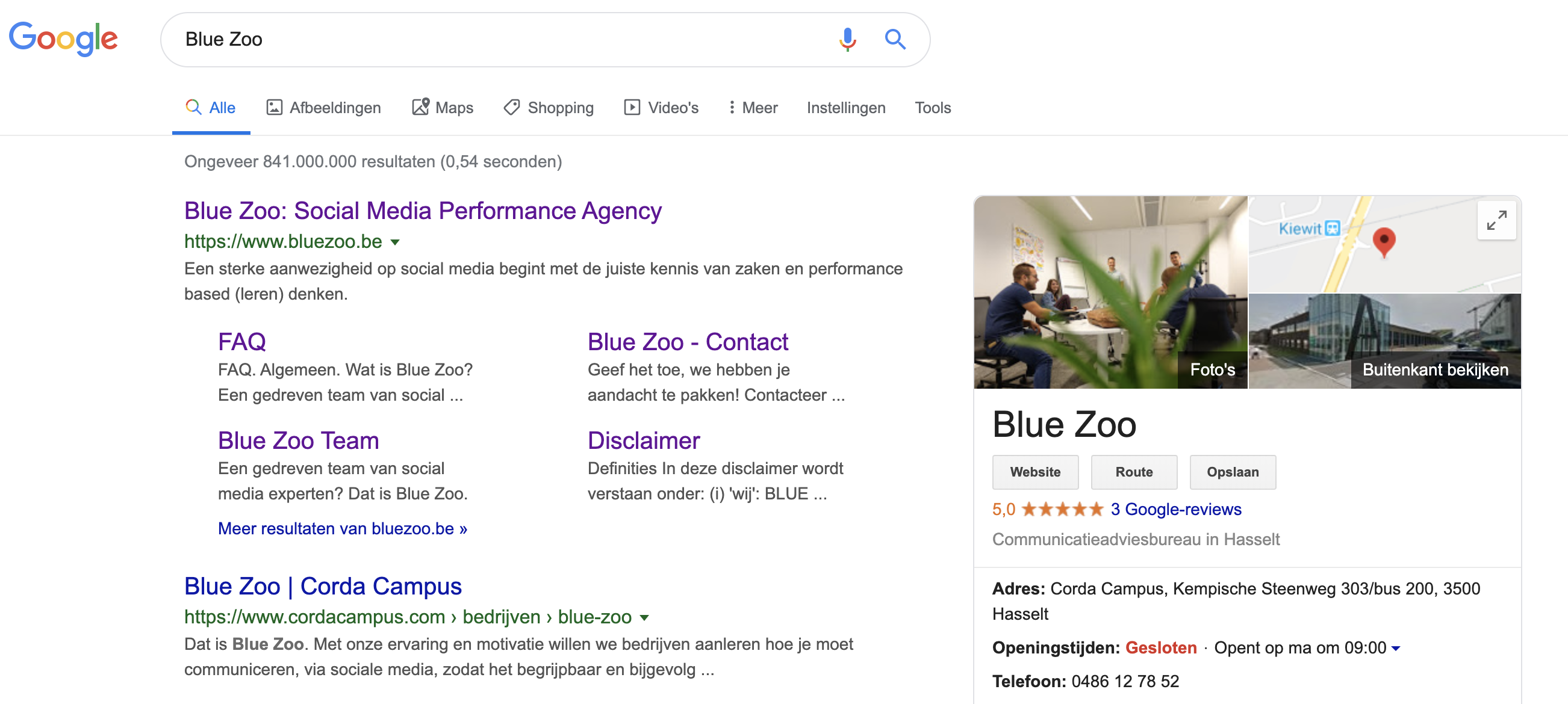 Google My Business voorbeeld Blue Zoo